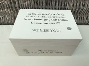 Personalised In Memory Of Box Loved One ~ AUNTIE AUNTY any Name Bereavement Loss - 253575327255